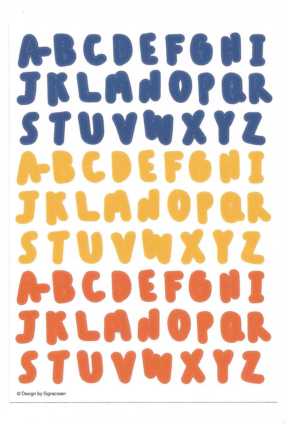 A-Z Sticker (Blue Yellow Orange)