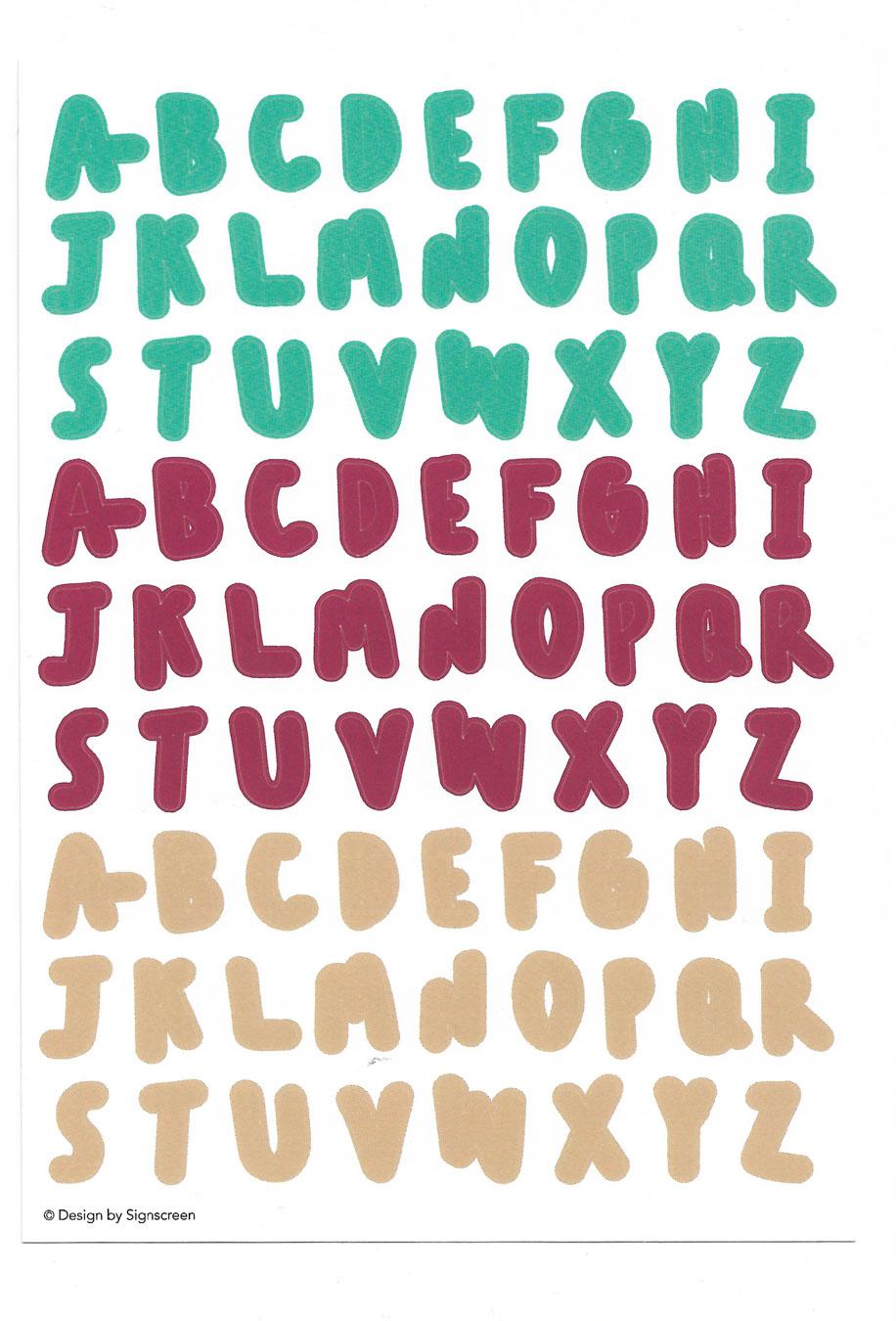 A-Z Sticker (Green Red Cream)