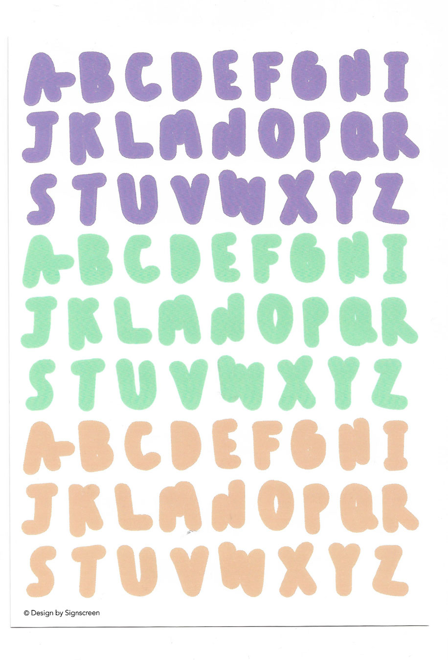 A-Z Sticker (Purple Mint Orange)