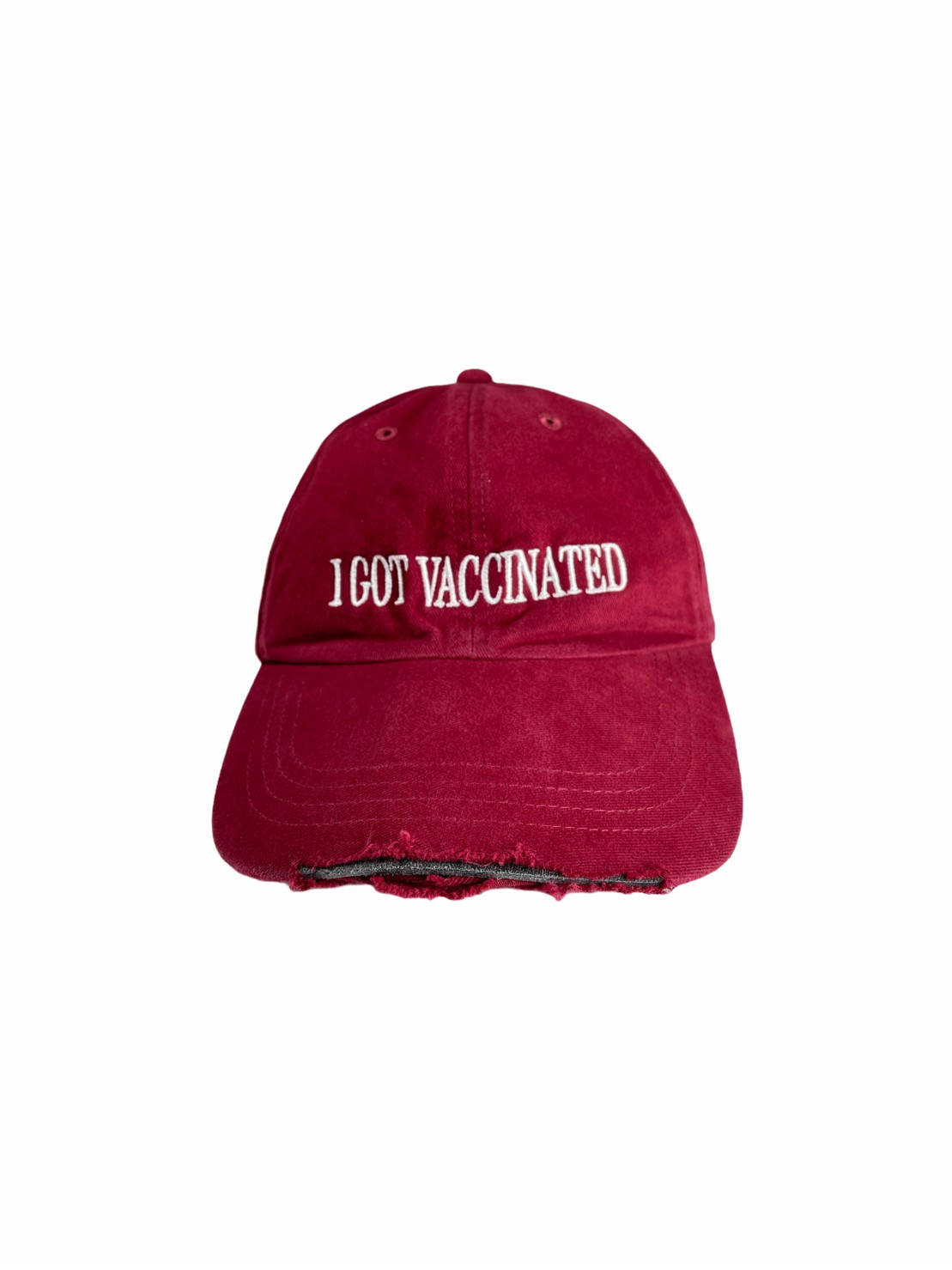 Ripped Cap I Got Vaccinated (Maroon)