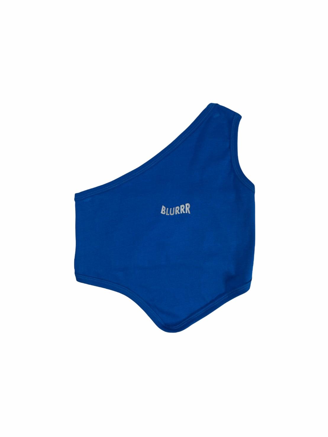 Blurrr (blue) Slant Shoulder Blouse