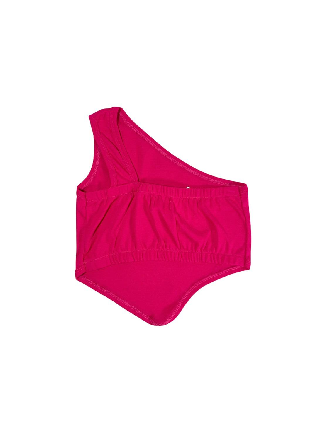 Blurrr (pink) Slant Shoulder Blouse
