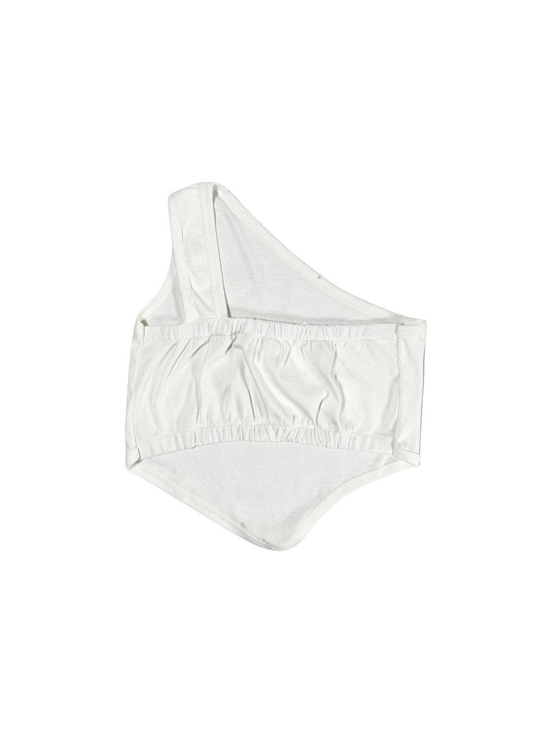 Blurrr (white) Slant Shoulder Blouse