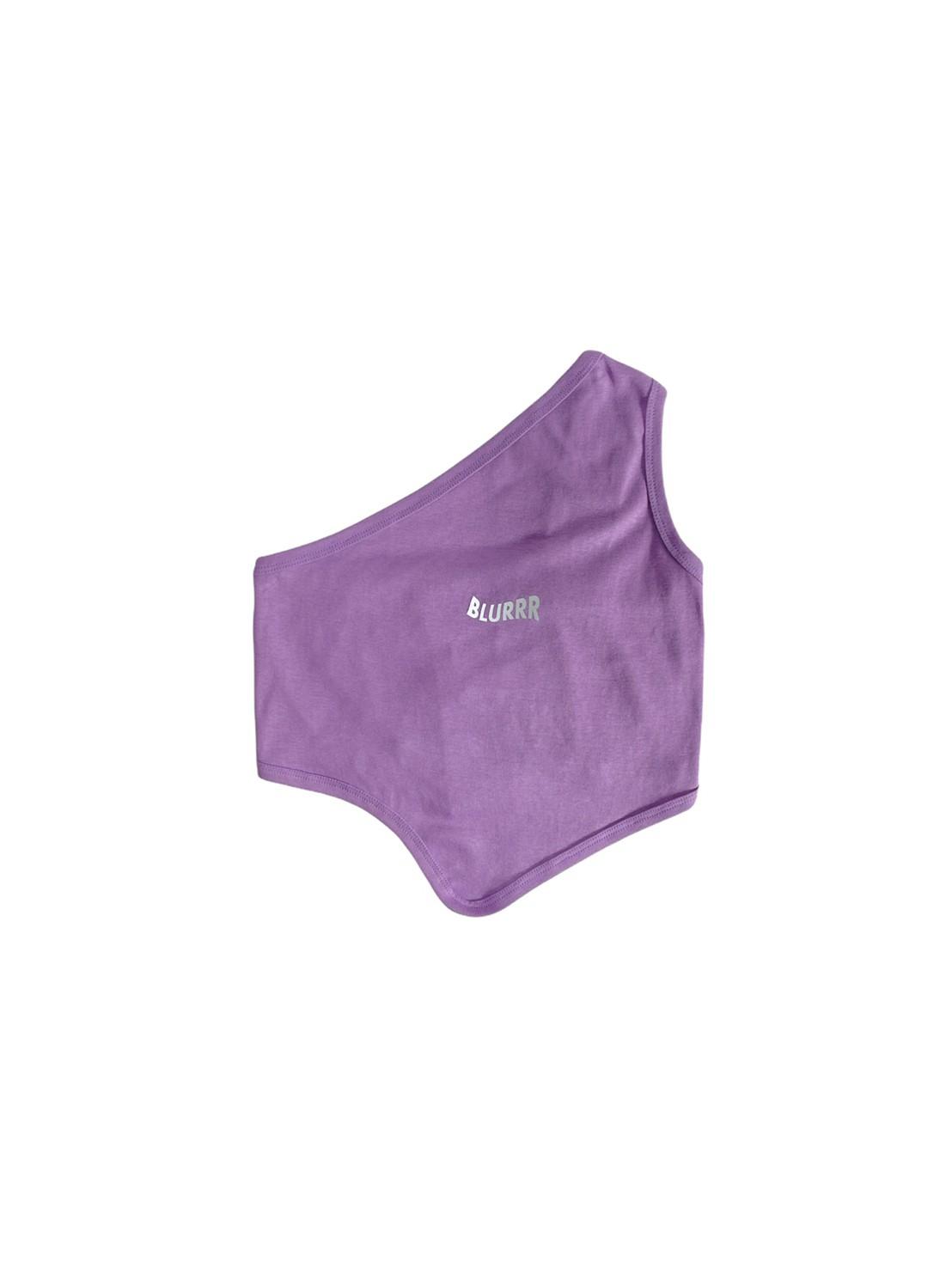 Blurrr (purple) Slant Shoulder Blouse