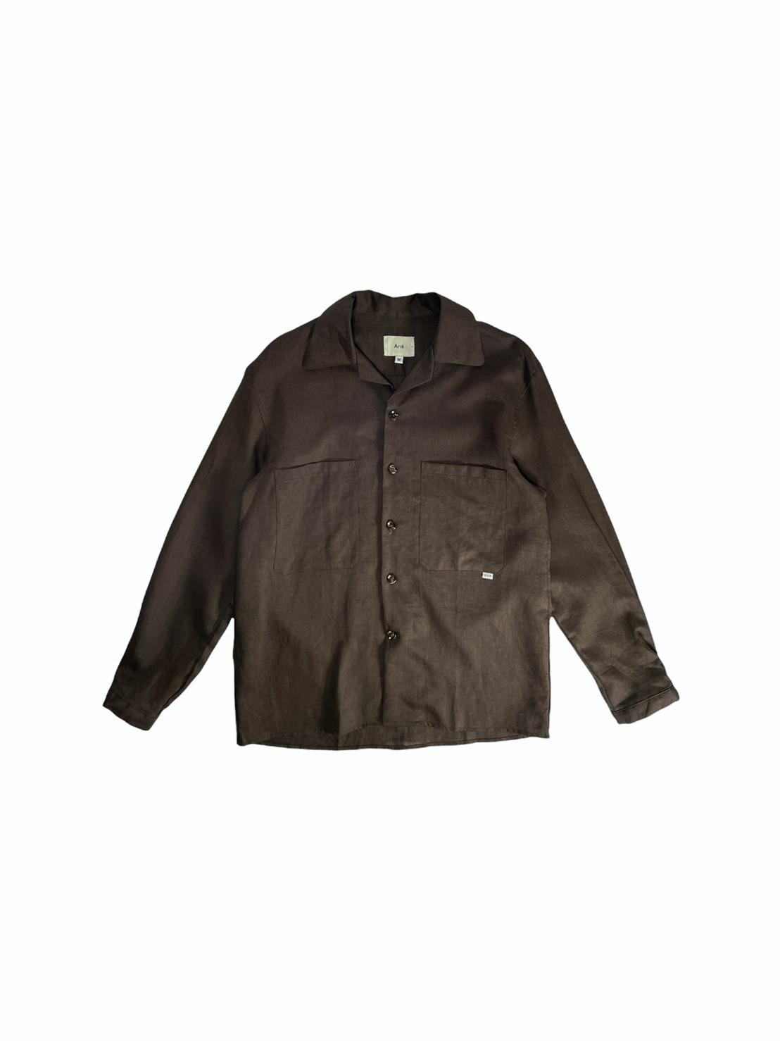 Ane Camp collar shirt (Dark brown linen)