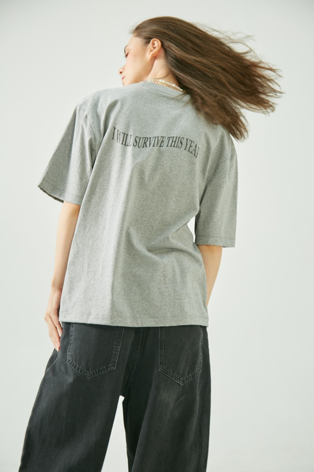 OVERSIZED TEE - I WILL SURVIVE (Grey)
