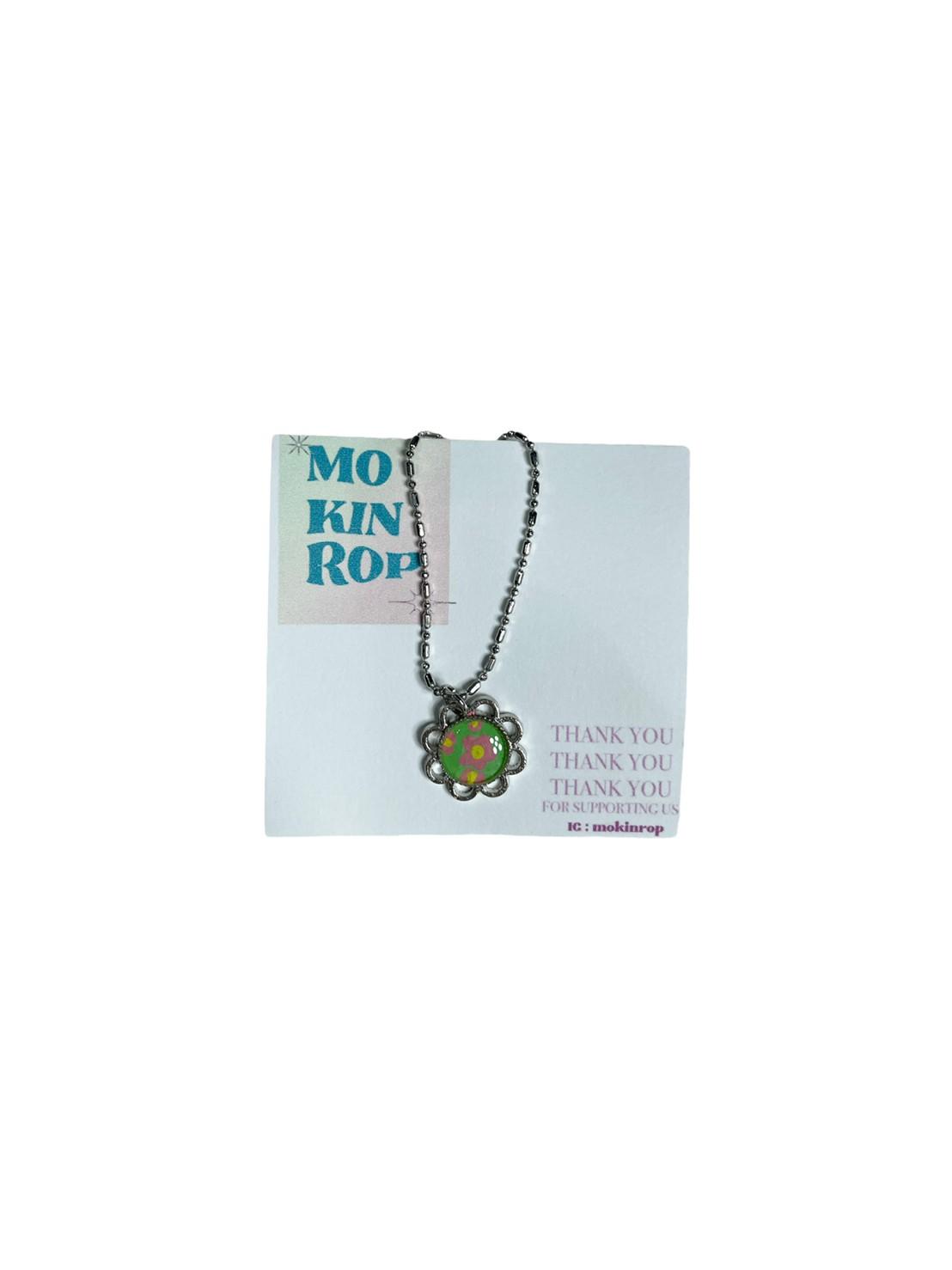 Flower necklace (Mint/Pink)