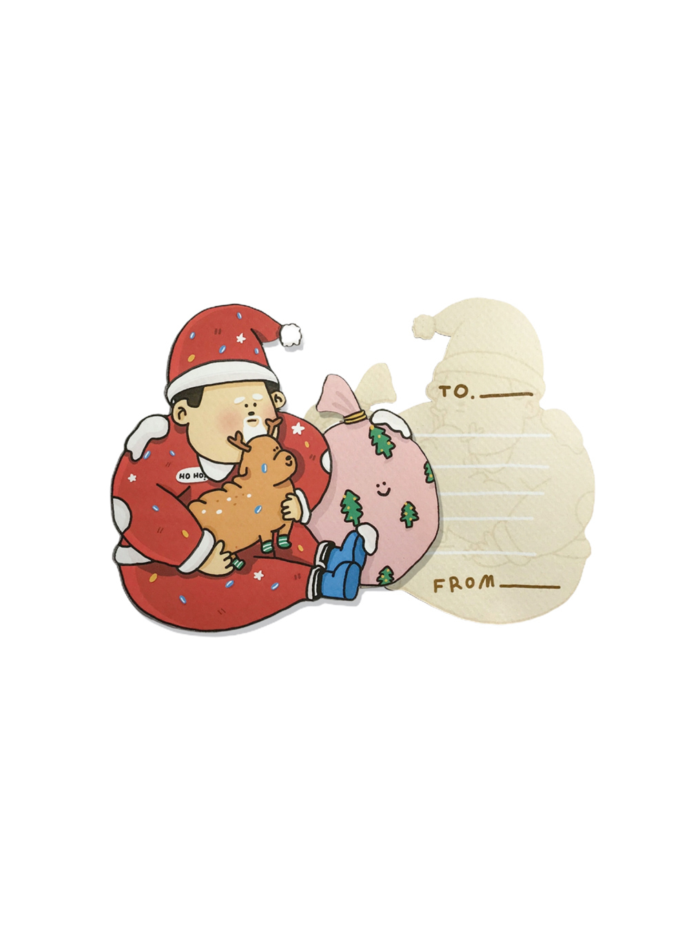 Die Cut Postcard - Fat Santa