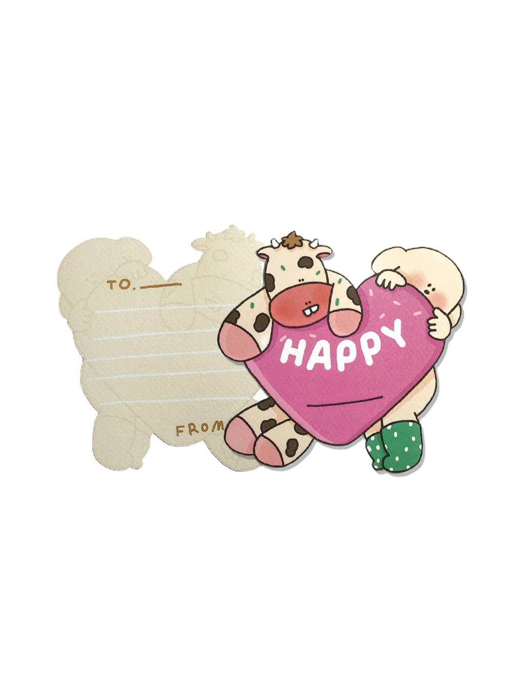 Die Cut Postcard - Happy Heart