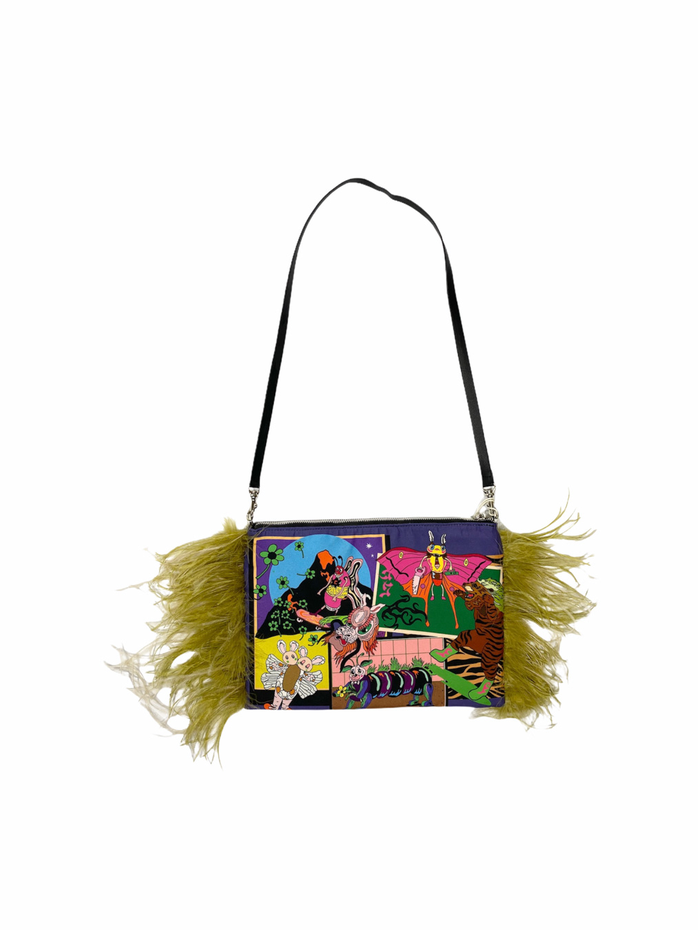 Flamingo Clutch With Feather Bag