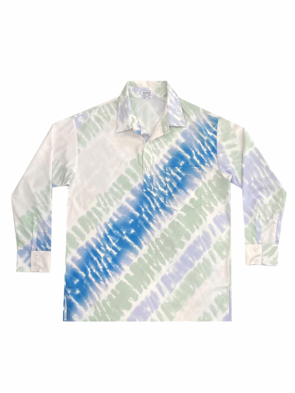 Pyjamas Tie - Dye Oversized Shirt (ฺBlue)