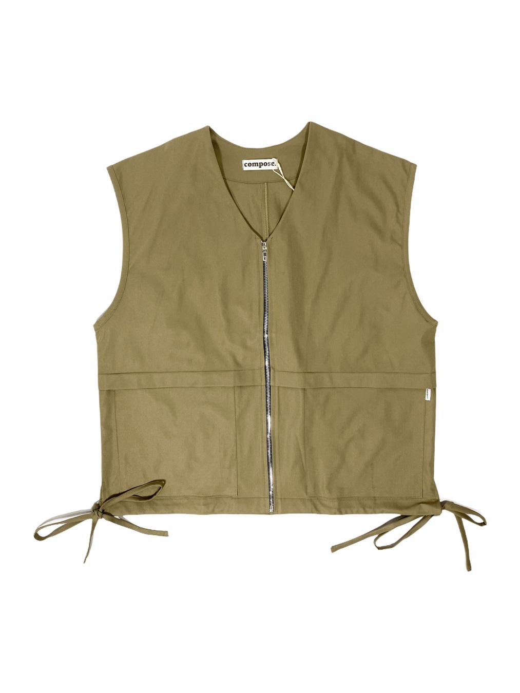 Zipped Jersey Vest (Khaki)