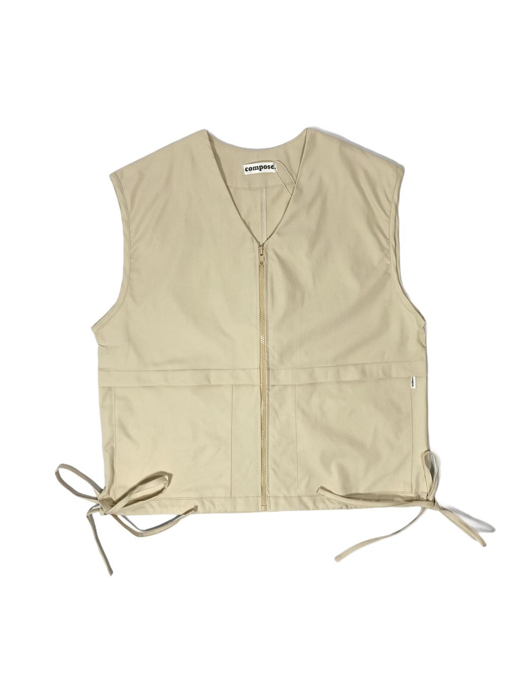 Zipped Jersey Vest (Beige)