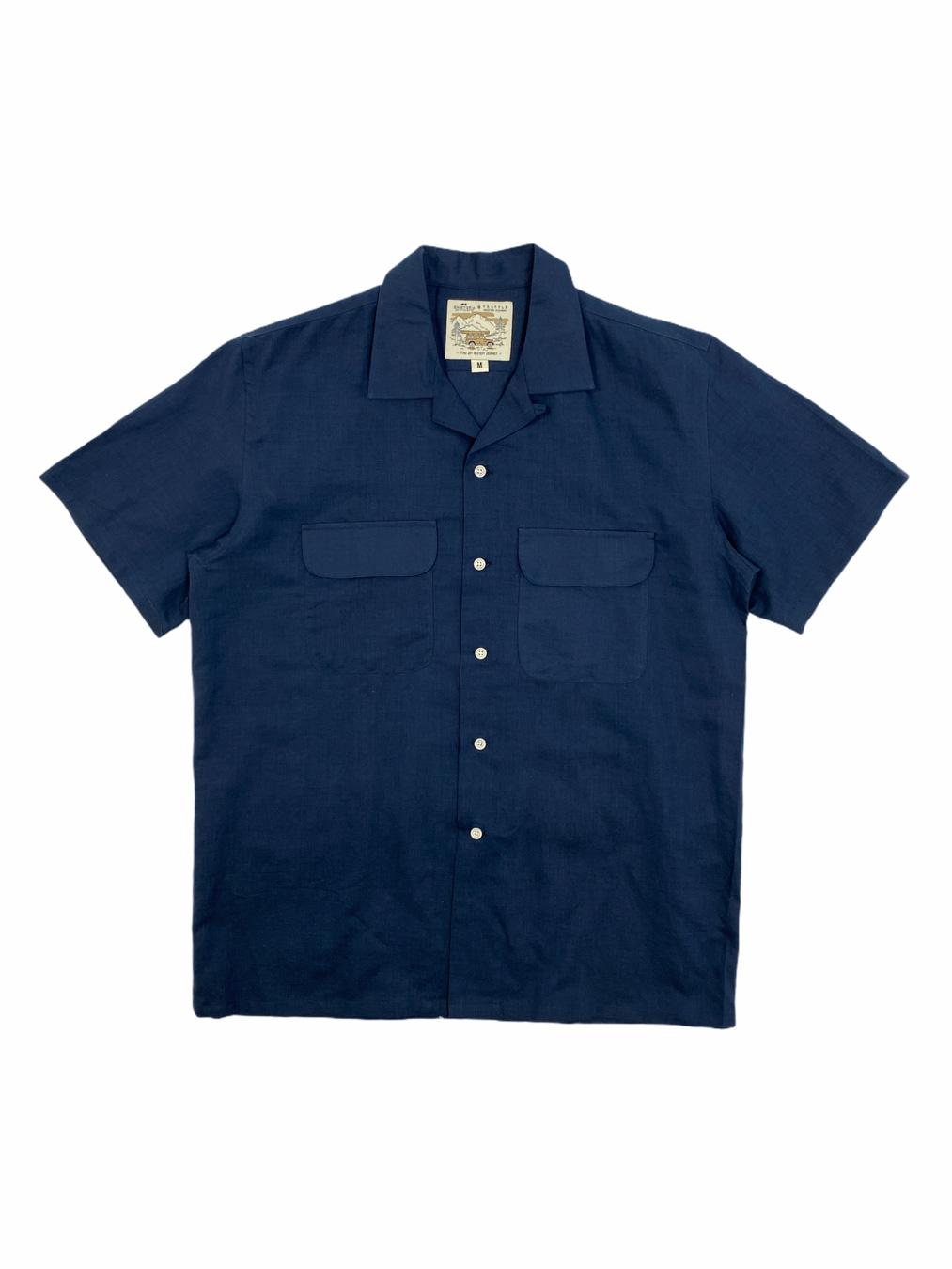 Short Linen Shirt (Navy)