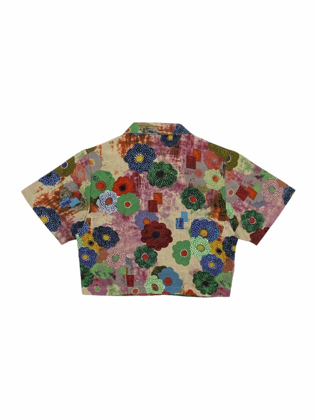 Button Up Crop Top in Flower Garden