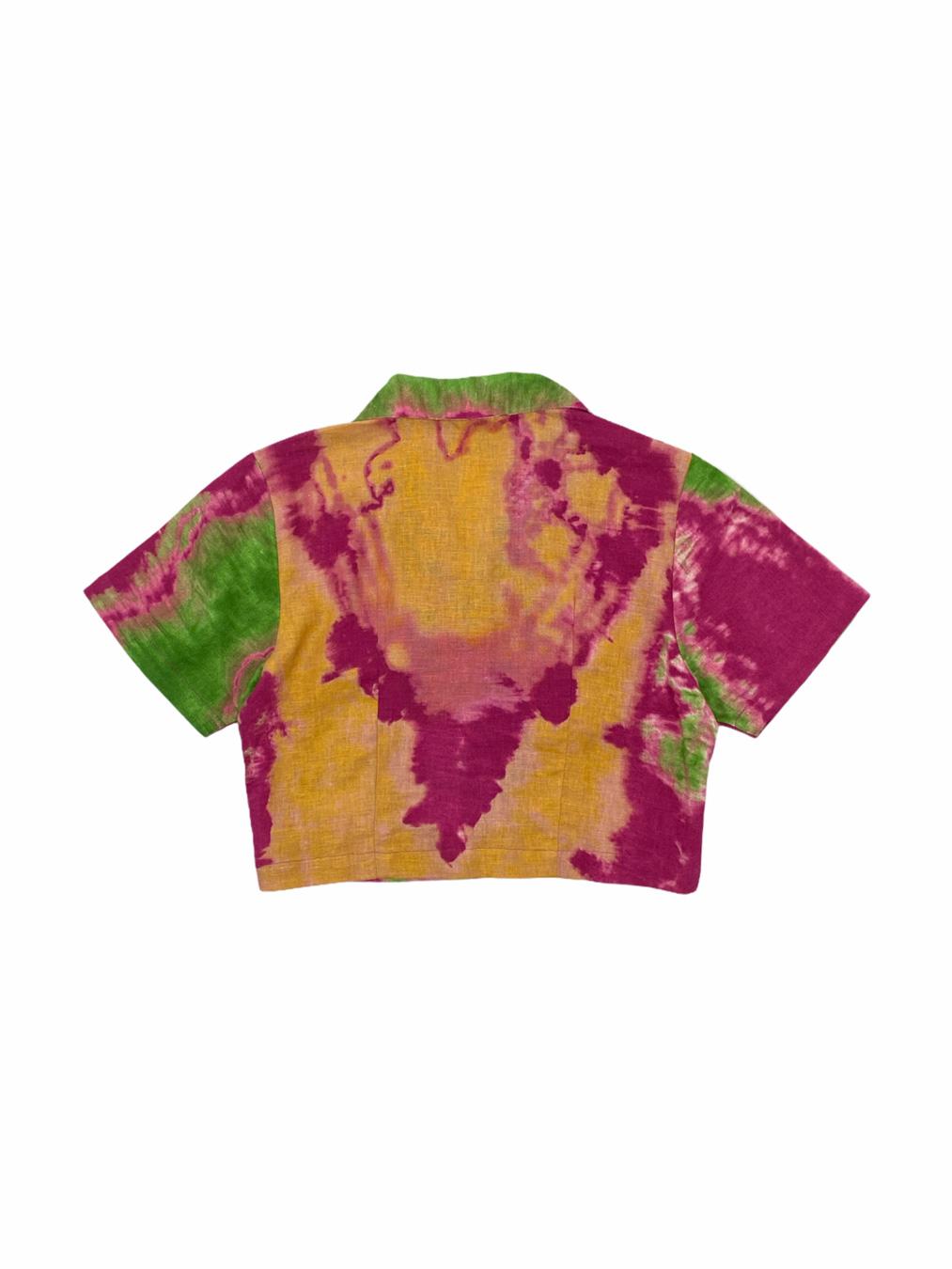 Button Up Crop Top in Tie Dye