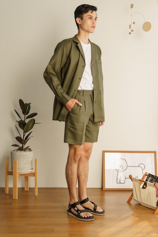 Linen wanderlust shorts (Olive)