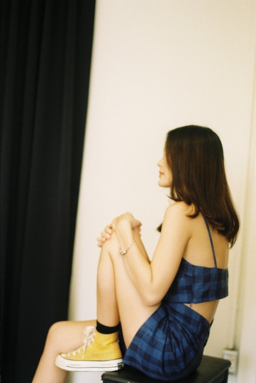 Miho Pattern Crop Top (Dark Blue)